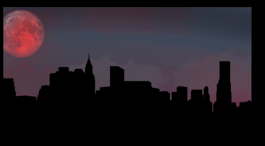 comic-blood moon-over city