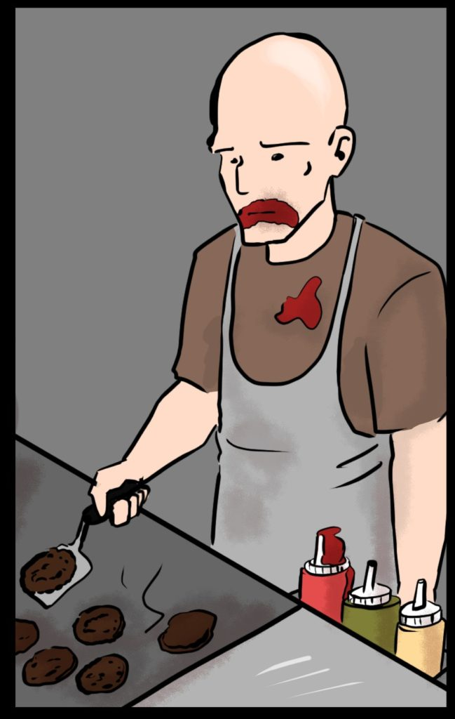 comic_man flipping burgers